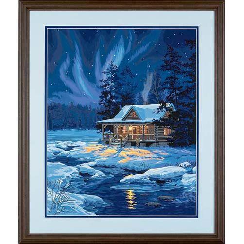 91223 Набор для рисования красками по номерам «Лунный домик» • «Moonlit Cabin» Dimensions Paint Works