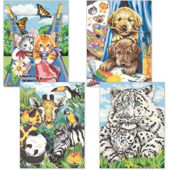 """91337 • Набор для рисования карандашами по номерам """"Дружественные животные"""" • """"Friendly Animals"""" Dimensions Paint Works"""