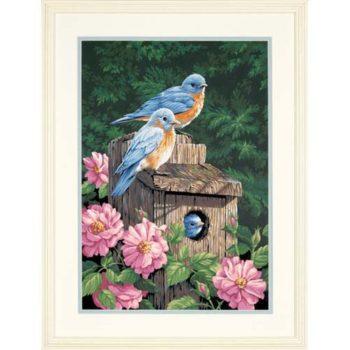 """91401 • Набор для рисования красками по номерам """"Садовые птицы"""" • """"Garden Bluebirds"""" Dimensions Paint Works"""