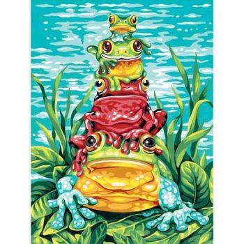 """91421 • Набор для рисования красками по номерам """"Лягушки"""" • """"Frog Pile•Up"""" Dimensions Paint Works"""