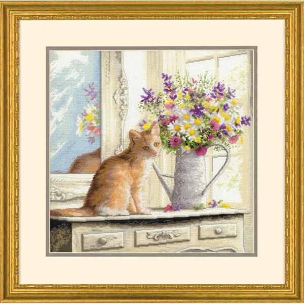 70-35359 Набор для вышивания крестом Котенок в окне Kitten in the Window DIMENSIONS