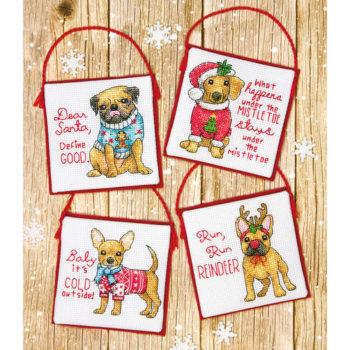 """70-08972 Набор для вышивания крестом """"Christmas Pups Ornaments//Рождевственские щенки"""" DIMENSIONS"""
