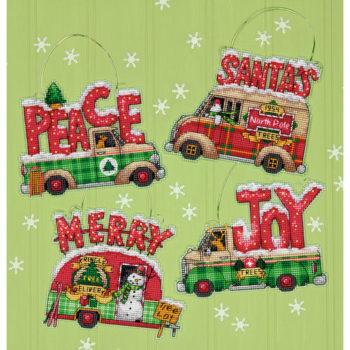 """70-08974 Набор для вышивания крестом """"Holiday Truck Ornaments//Правздничные грузовички"""" DIMENSIONS"""