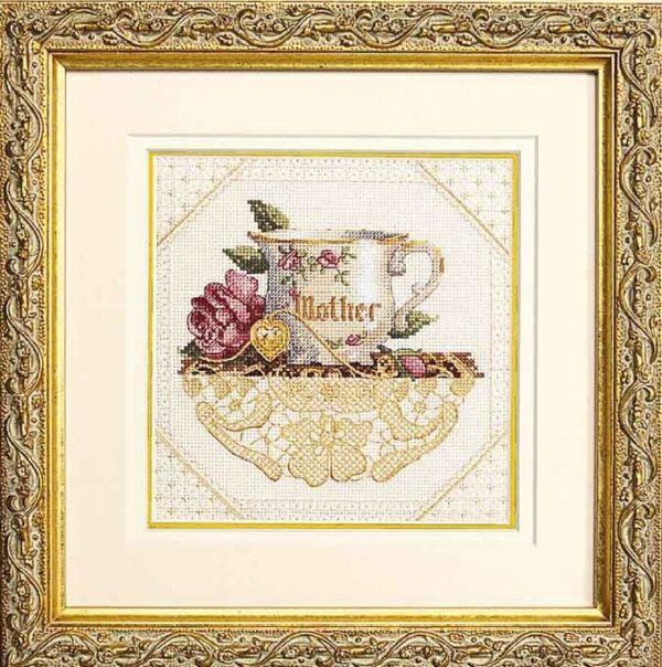 """06709 Набор для вышивания крестом """"Mother//Мамина чашка"""" DIMENSIONS"""