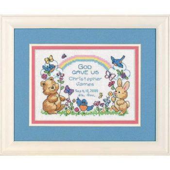 """6802 Набор для вышивания крестом """" Gods Babies Birth Record • Детская метрика. Дитя Божье"""" DIMENSIONS"""