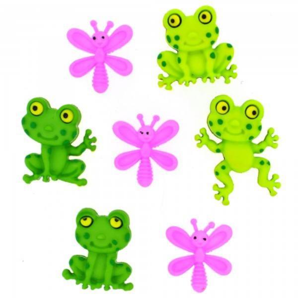 8303 Декоративные пуговицы. Счастливые лягушки | Dress it up США