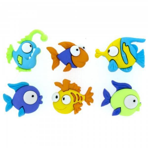 6952 Декоративные пуговицы. Разноцветные рыбки | Dress it up США