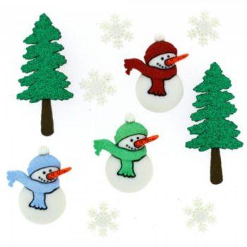 2465 Декоративные пуговицы. Снеговики и елки  | Dress it up США