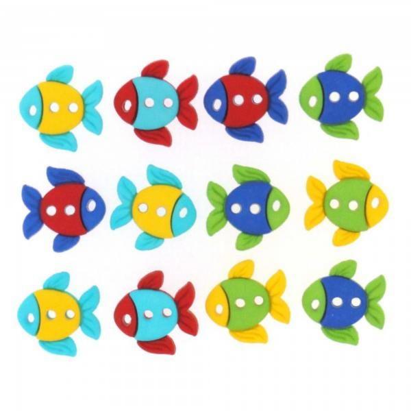 6932 Декоративные пуговицы. Цветные рыбки  | Dress it up США