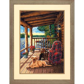 """73-91674 Набор для рисования красками по номерам """"Крыльцо • Log Cabin Porch"""" DIMENSIONS"""
