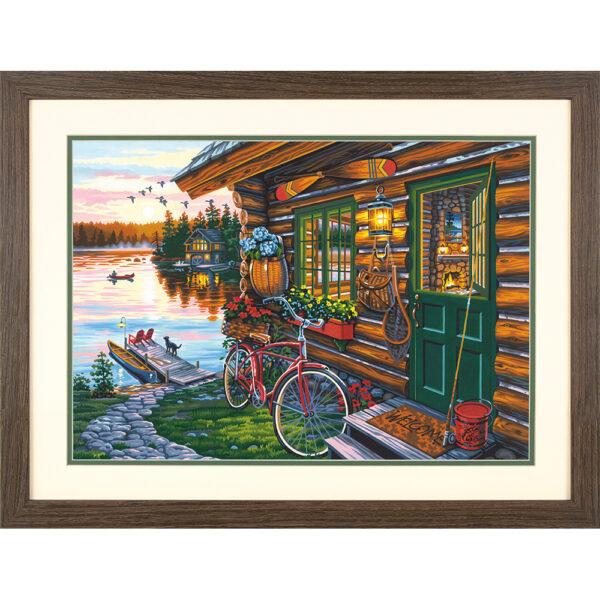 """73-91660 Набор для рисования красками по номерам """"Домик с видом • Cabin View"""" DIMENSIONS"""