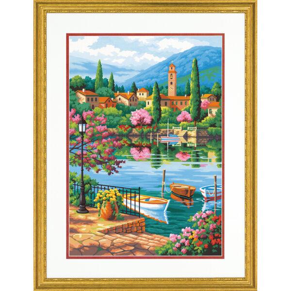 """73-91661 Набор для рисования красками по номерам """"Озеро в обед • Village Lake Afternoon"""" DIMENSIONS"""