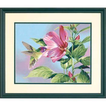 """91419 Набор для рисования красками по номерам """"Колибри и гибискус • Hibiscus Hummingbird"""" DIMENSIONS"""