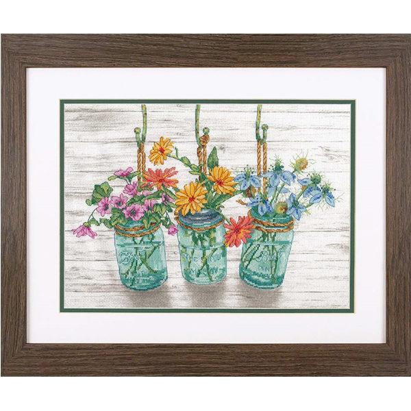 """70-35378 Набор для вышивания крестом """"Цветущие банки • Flowering Jars"""" DIMENSIONS"""