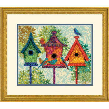 """71-20088 Набор для вышивания гобеленом """"Colorful Birdhouses • Красочние домики для птиц"""" DIMENSIONS"""