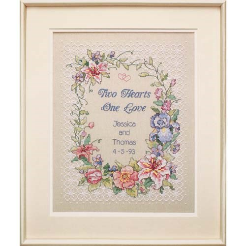 "03122 Набор для вышивания крестом ""Два сердца • Two Hearts Wedding Record"" DIMENSIONS"