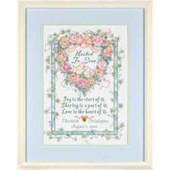 """35125 Набор для вышивания крестом """"Объедены любовью • United in Love Wedding Record"""" DIMENSIONS"""