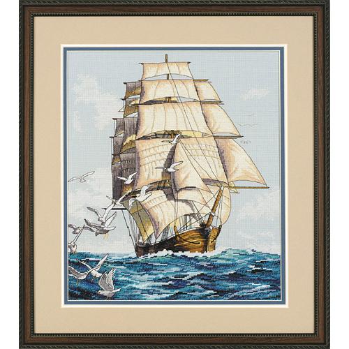 """03886 Набор для вышивания крестом """"Clipper Ship Voyage • Морское путешествие"""" DIMENSIONS"""