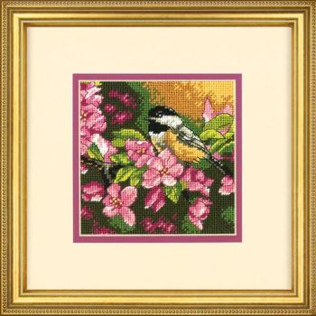 """71-07244 Набор для вышивания гобеленом """"Синичка в розовом • Chickadee in Pink"""" DIMENSIONS"""