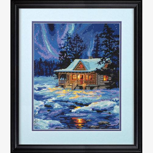 """71-20072 Набор для вышивания гобеленом """"Зимняя хижина • Winter Sky Cabin"""" DIMENSIONS"""