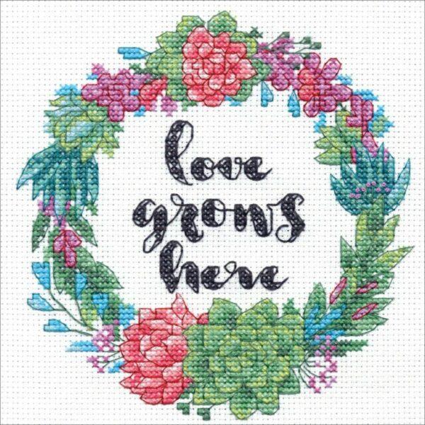 """70-65196 Набор для вышивания крестом  """"Succulent wreath • Яркий венок"""" DIMENSIONS"""