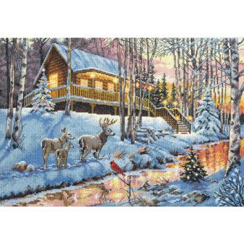 """70-08976 Набор для вышивания крестом """"Winter cabin • Зима"""" DIMENSIONS"""