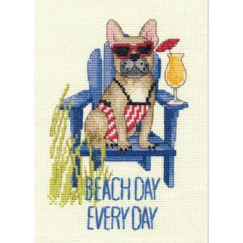 "70-65195 Набор для вышивания крестом ""Beach day dog • Пляжная собака"" DIMENSIONS"