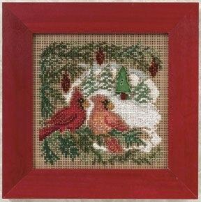 """Набор для вышивания """"Cardinal Forest • Кардиналы в лесу"""" Mill Hill MH140301"""