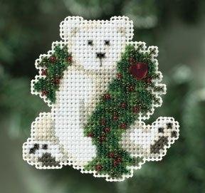 """Набор для вышивания """"Holiday Polar Bear • Праздничный полярный медведь"""" Mill Hill MH180306"""