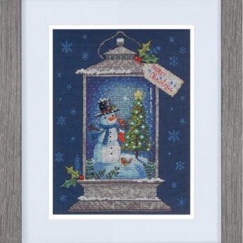 """70-08987 Набор для вышивания крестом """"Snowman Lantern • Фонарь со снеговиком"""" DIMENSIONS"""