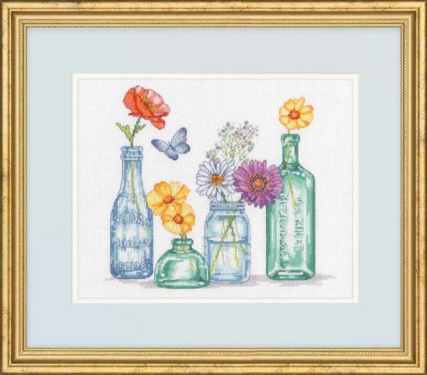 """70-35397 Набор для вышивания крестом """"Wildflower Jars • Банки с полевыми цветами"""" DIMENSIONS"""