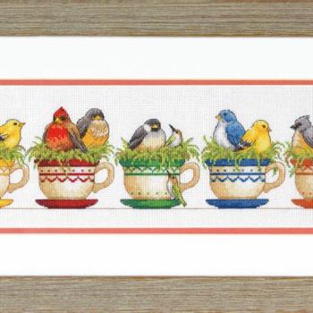 """70-35394 Набор для вышивания крестом """"Teacup Birds • Птицы в чашках"""" DIMENSIONS"""