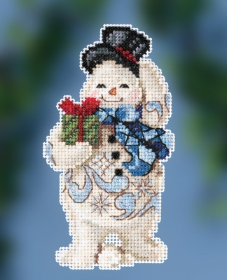"JS202011 Набор для вышивания ""Gift Giving Snowman • Снеговик с подарком"" Mill Hill"