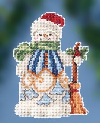 "JS202013 Набор для вышивания ""Clean Sweep Snowman • Снеговик дворник"" Mill Hill"