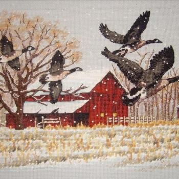 """13732 Набор для вышивания крестом """"Гуси зимой • Winter Geese"""" DIMENSIONS"""