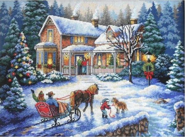 """08733 Набор для вышивания крестом """"Домой на праздники • Coming Home for the Holidays"""" DIMENSIONS"""