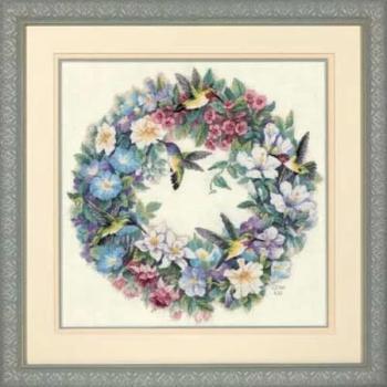 """35132 Набор для вышивания крестом """"Венок с колибри • Hummingbird Wreath"""" DIMENSIONS"""