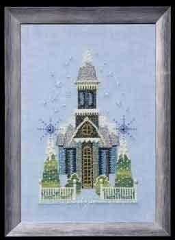 "Схема ""Little Snowy Blue Church • Маленькая снежная голубая церковь"" Nora Corbett NC158"