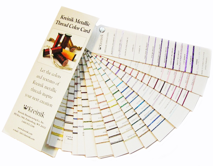 Живая карта цветов металлизированных нитей Kreinik