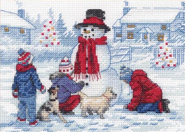 """Набор для вышивания крестом """"Building A Snowman • Строительство снеговика"""" DIMENSIONS"""