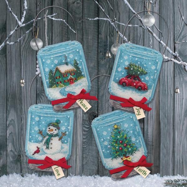 """Набор для вышивания крестом """"Christmas Jar Ornaments • Рождественские баночки"""" DIMENSIONS"""