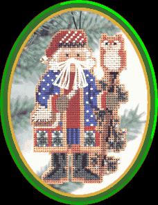 """Набор для вышивания """"Juniper Branch Santa • Санта с можжевельником"""" Mill Hill"""